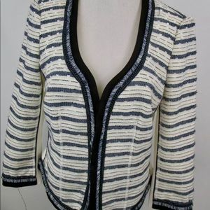 Fringed Sequined Fitted Jacket 8 Navy & Ivory
